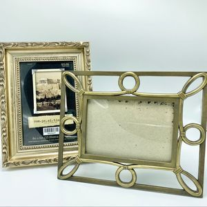 2 picture frames tarnished gold decor 4x6 3x5